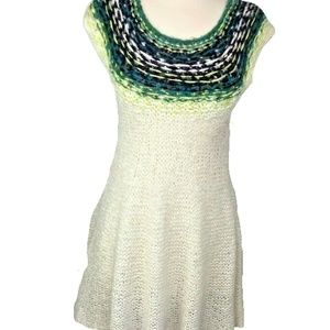 Free People Alpaca Knit Crochet Dress Size M Cream